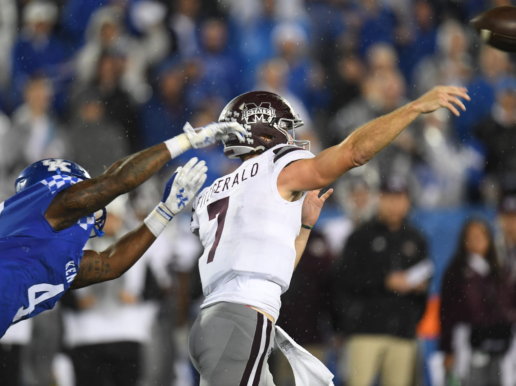 UK DE Josh Allen pressures Mississippi State QB Nick Fitzgerald during the University of Kentucky football game against Mississippi State at Kroger Field in Lexington, Kentucky on Saturday, September 22, 2018.