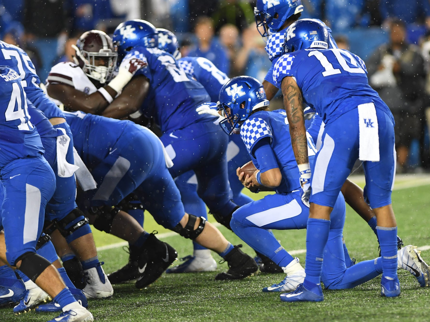 UK QB Gunnar Hoak takes a knee during the University of Kentucky football game against Mississippi State at Kroger Field in Lexington, Kentucky on Saturday, September 22, 2018.