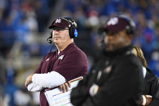 Mississippi State head coach Joe Moorhead wasn't happy watching his team fall apart in the second half of MSU's 28-7 loss at Kentucky in Kroger Field in Lexington on Saturday, September 22, 2018.