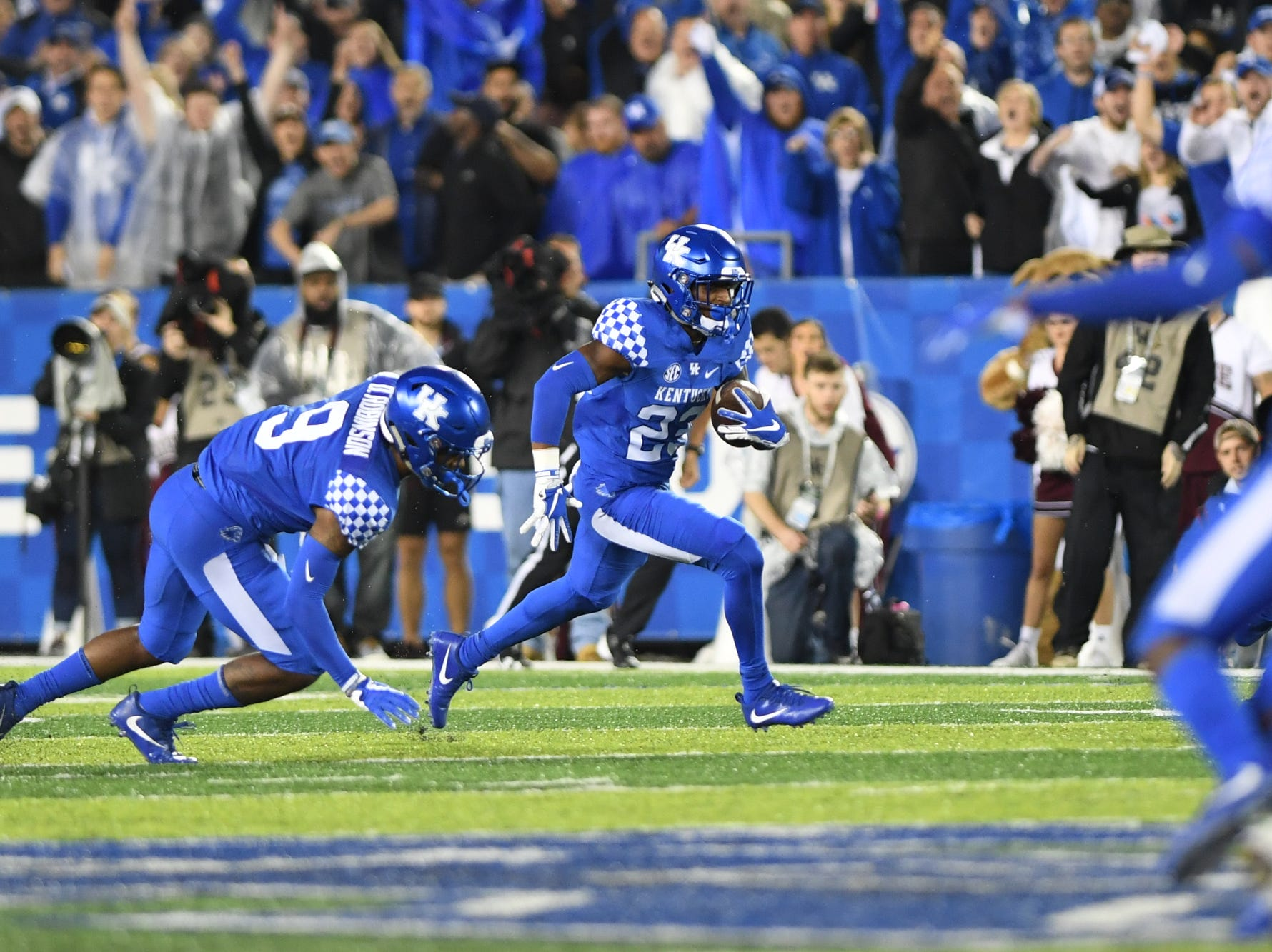 UK SS Tyrell Ajian intercepts the ball during the University of Kentucky football game against Mississippi State at Kroger Field in Lexington, Kentucky on Saturday, September 22, 2018.