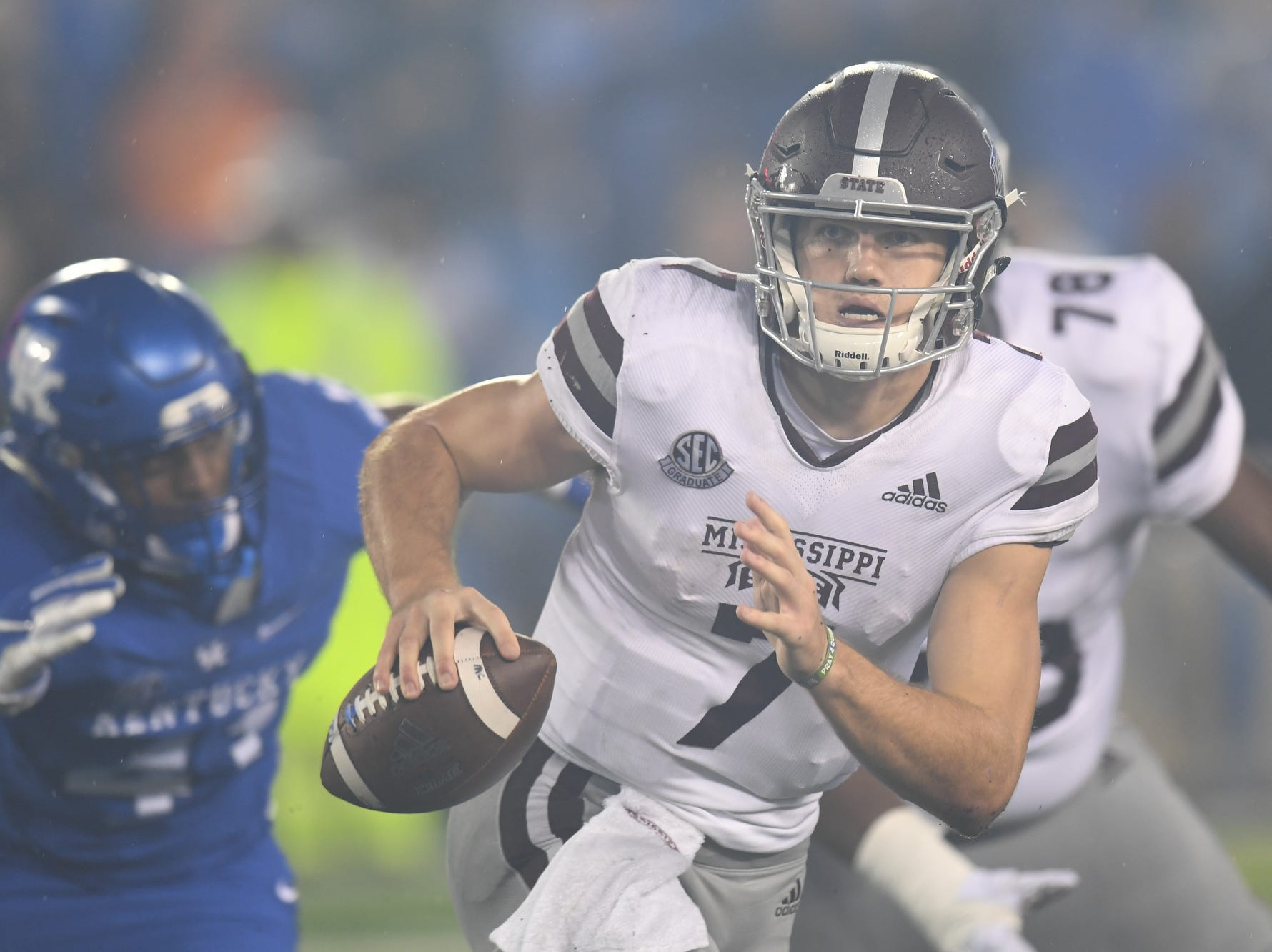 Mississippi State QB Nick during the University of Kentucky football game against Mississippi State at Kroger Field in Lexington, Kentucky on Saturday, September 22, 2018.