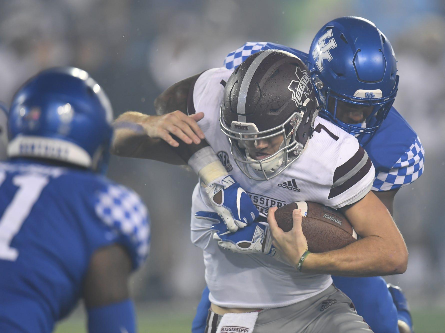 UK DE Josh Allen sacks Mississippi State QB Nick Fitzgerald during the University of Kentucky football game against Mississippi State at Kroger Field in Lexington, Kentucky on Saturday, September 22, 2018.