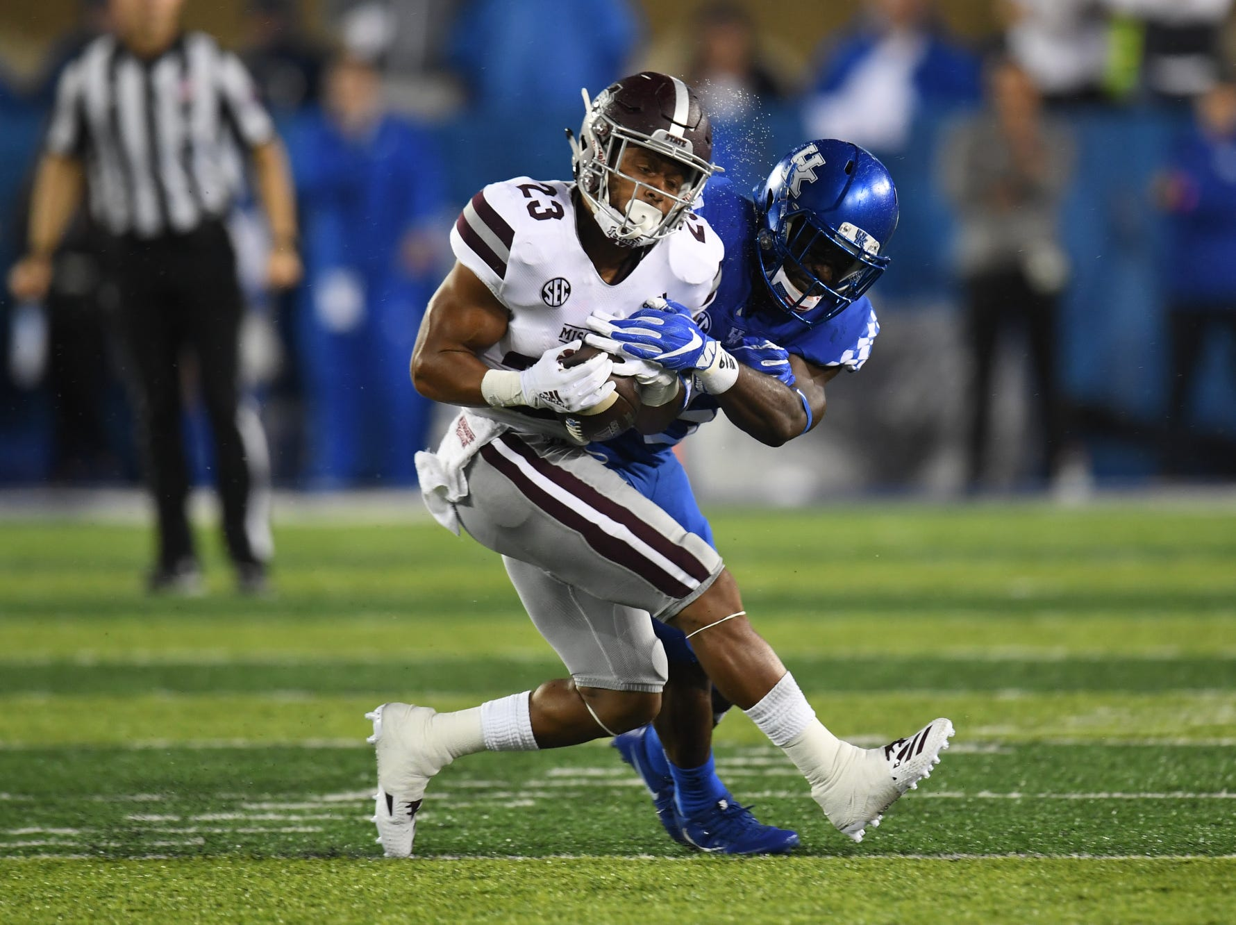 UK FS Darius West knocks the ball for an incomplete pass during the University of Kentucky football game against Mississippi State at Kroger Field in Lexington, Kentucky on Saturday, September 22, 2018.
