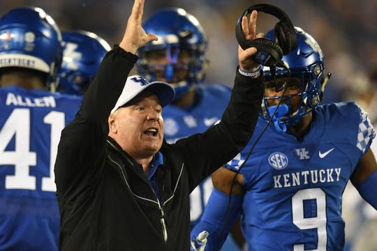 UK head coach Mark Stoops during the University of Kentucky football game against Mississippi State at Kroger Field in Lexington, Kentucky on Saturday, September 22, 2018.