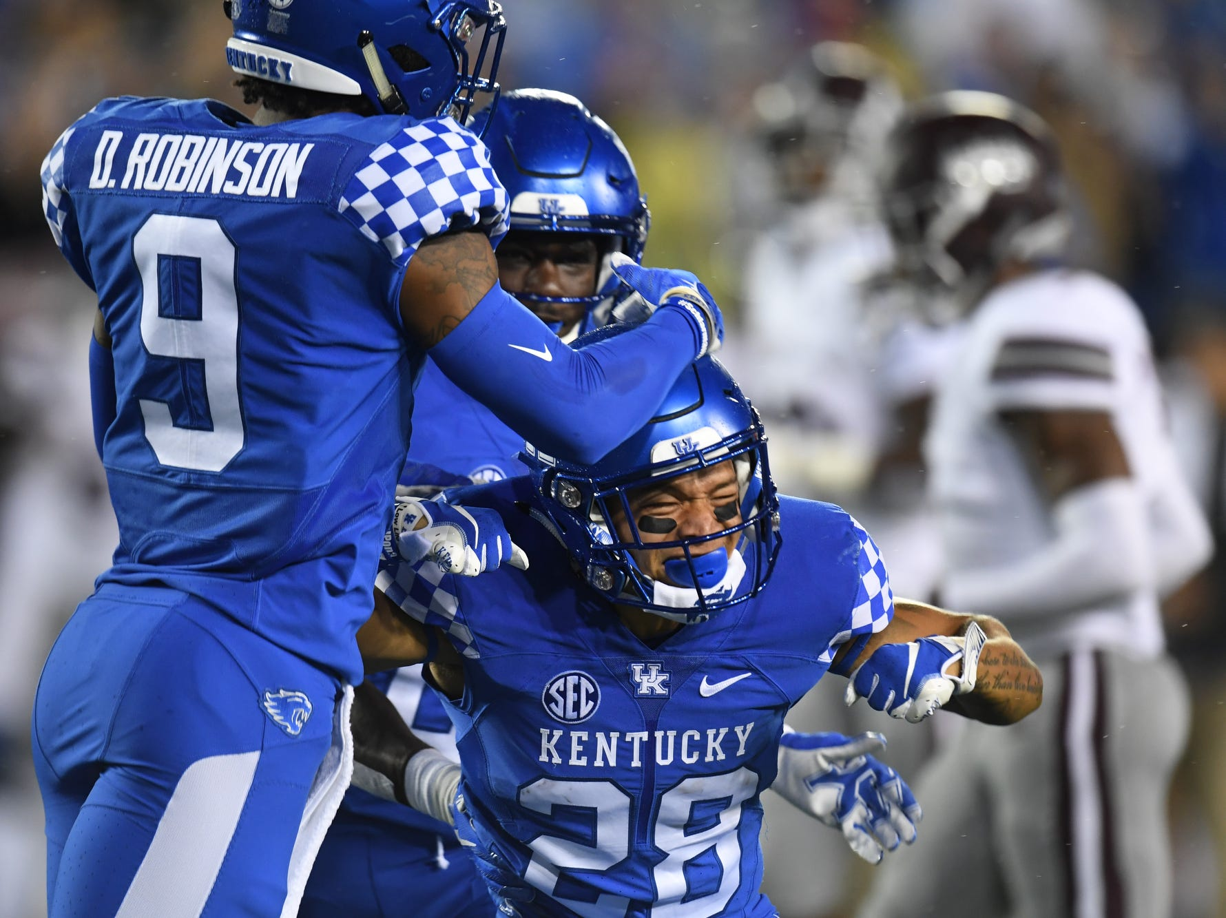 UK RB Zach Johnson celebrates after giving a hard hit on special teams during the University of Kentucky football game against Mississippi State at Kroger Field in Lexington, Kentucky on Saturday, September 22, 2018.