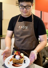 David Yuan of Toaste shows his Berry Berry Honey Toast.