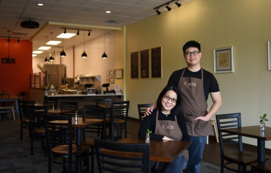 David Yuan and his mother Cucu Wangawihardja of Toaste in East Lansing. The family-owned and operated kitchen opened in April of 2018.  They specialize in sandwiches, Asian-inpired teas, and specialty desserts.  Guests rave about their specialty honey toast Asian desserts, created from David's honey toast bread, which takes five hours to complete from beginning to end.  They use fresh locally grown produce, and make their custards and teas from scratch.