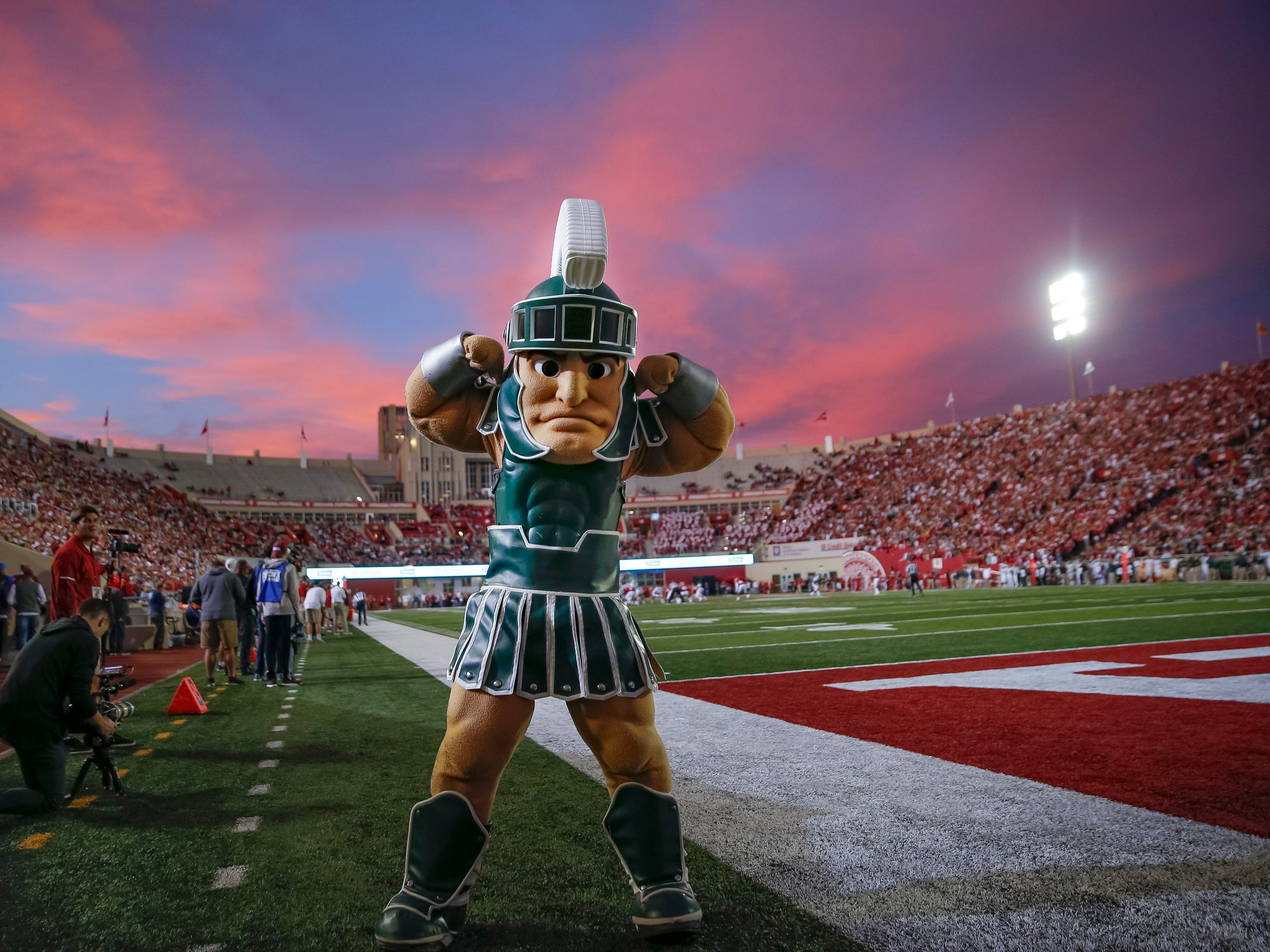 The Michigan State Spartans mascot Sparty flexes during the game against the Indiana Hoosiers at Memorial Stadium on September 22, 2018 in Bloomington, Indiana.