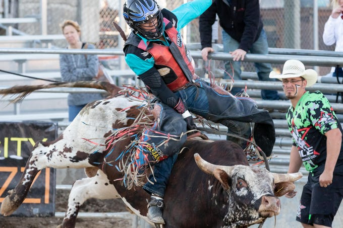 Bull riders from across the Midwest and Mexico compete in the Central Bull Riders Association Finals on Saturday, Sept. 22, 2018, at the Central Wisconsin State Fairgrounds in Marshfield.