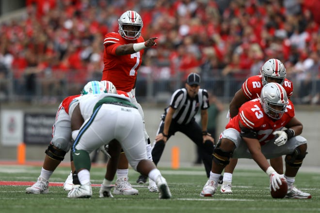 Ohio State Buckeyes quarterback Dwayne Haskins reacts from the line of scrimmage during Saturday's 49-6 win over Tulane. Haskins played just the first half, but threw five touchdown passes and had only three incompletions.