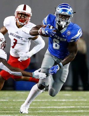 Memphis running back Patrick Taylor Jr., scrambles past the South Alabama defense during action in Memphis, Tenn., Saturday, September 22, 2018.