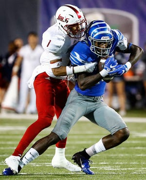 Memphis receiver Damonte Coxie (right) for fora first down against South Alabama defender Jalen Thompson (left) for a touchdown during action in Memphis, Tenn., Saturday, September 22, 2018.