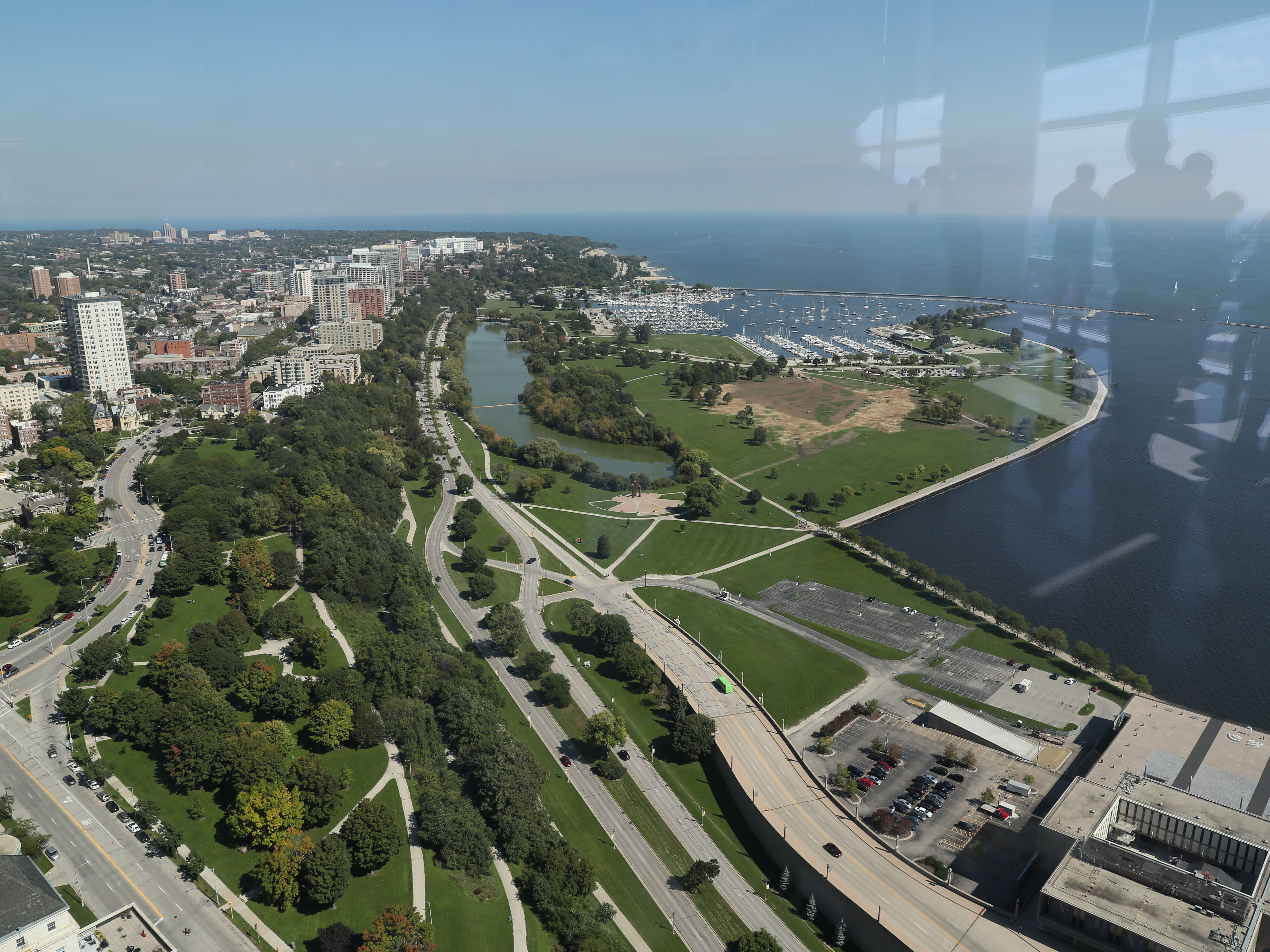 A view looking north along the lakefront from the 32nd floor of the new Northwestern Mutual Tower and Commons during Doors Open Milwaukee 2018 on Sunday.