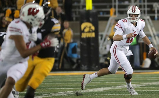 Wisconsin quarterback Alex Hornibrook rolls out and looks for a receiver.