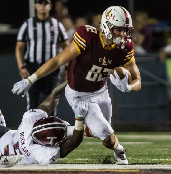 Tight end Sloan Spiller (82) injured his shoulder in ULM's 46-14 loss to Georgia State. He caught 13 passes for 108 yards and one touchdown in five games.
