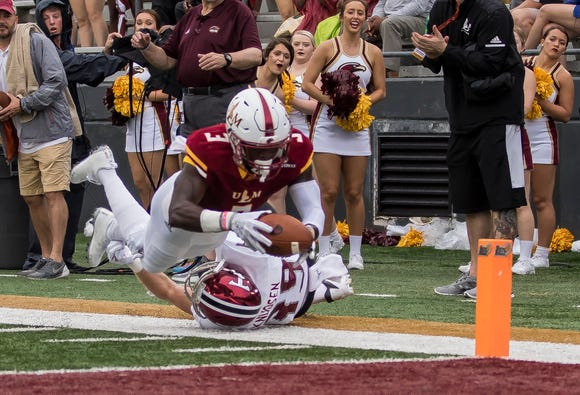 Green (3) was sidelined in the third quarter of ULM's 35-27 loss to Troy and did not return.