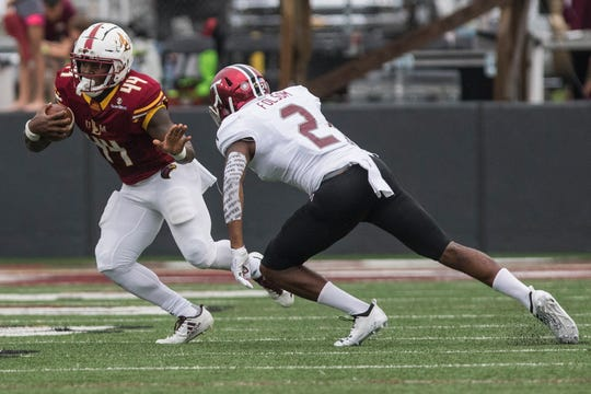 Derrick Gore (44) rushed for 1,247 yards and 12 touchdowns on 295 carries in two seasons at ULM and also contributed on special teams.