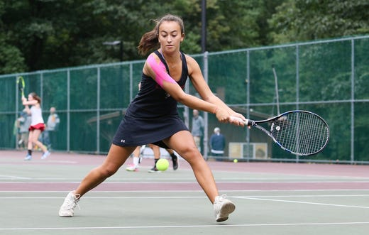 big sale a3461 c1624 Morristown-Beard s Sophia Maney hits a return shot in second doubles during  the finals of