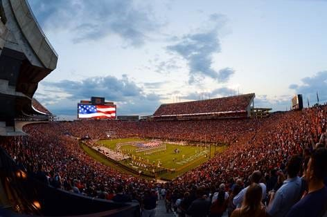 Auburn fans listen to the band play the National Anthem before the Arkansas game Saturday, Sept. 22, 2018, at Jordan-Hare Stadium in Auburn, Ala.