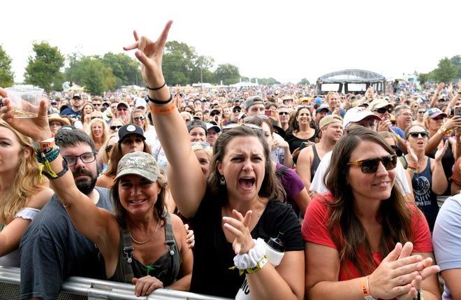 Amos Lee fans Beth Watts of Brentwood and Kristin Ley of Athens, Ga., listen to music at Pilgrimage Festival at The Park at Harlinsdale Farm Saturday, Sept. 22, 2018, in Franklin, Tenn.