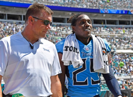 The Titans' Adoree' Jackson (25) heads into the locker room after a hit in the second quarter Sunday.