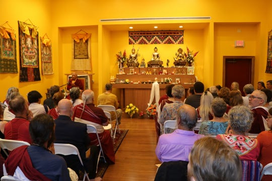 About 60 people connected to the Padmasambhava Buddhist Center of Tennessee gathered inside the newly constructed Yeshe Tsogyal Temple for the consecration service.