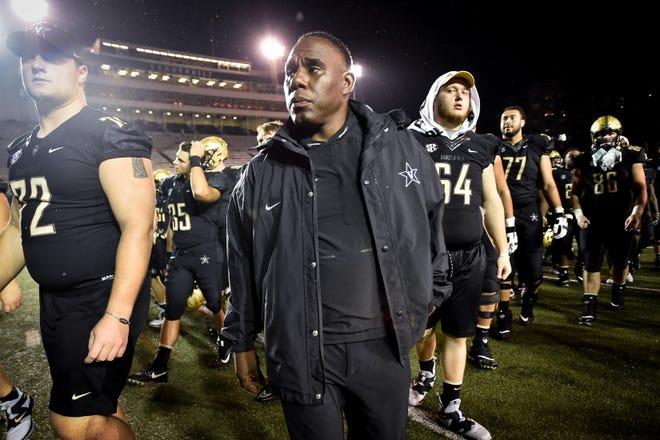 Vanderbilt coach Derek Mason exits the field after a loss to South Carolina.