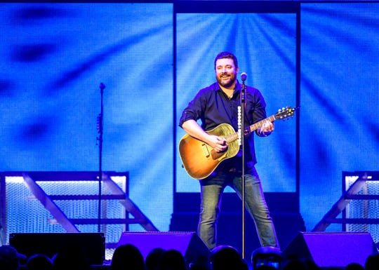 Chris Young performs for his first time as a headliner at at Bridgestone Arena in Nashville, Tenn., Saturday, Sept. 22, 2018.