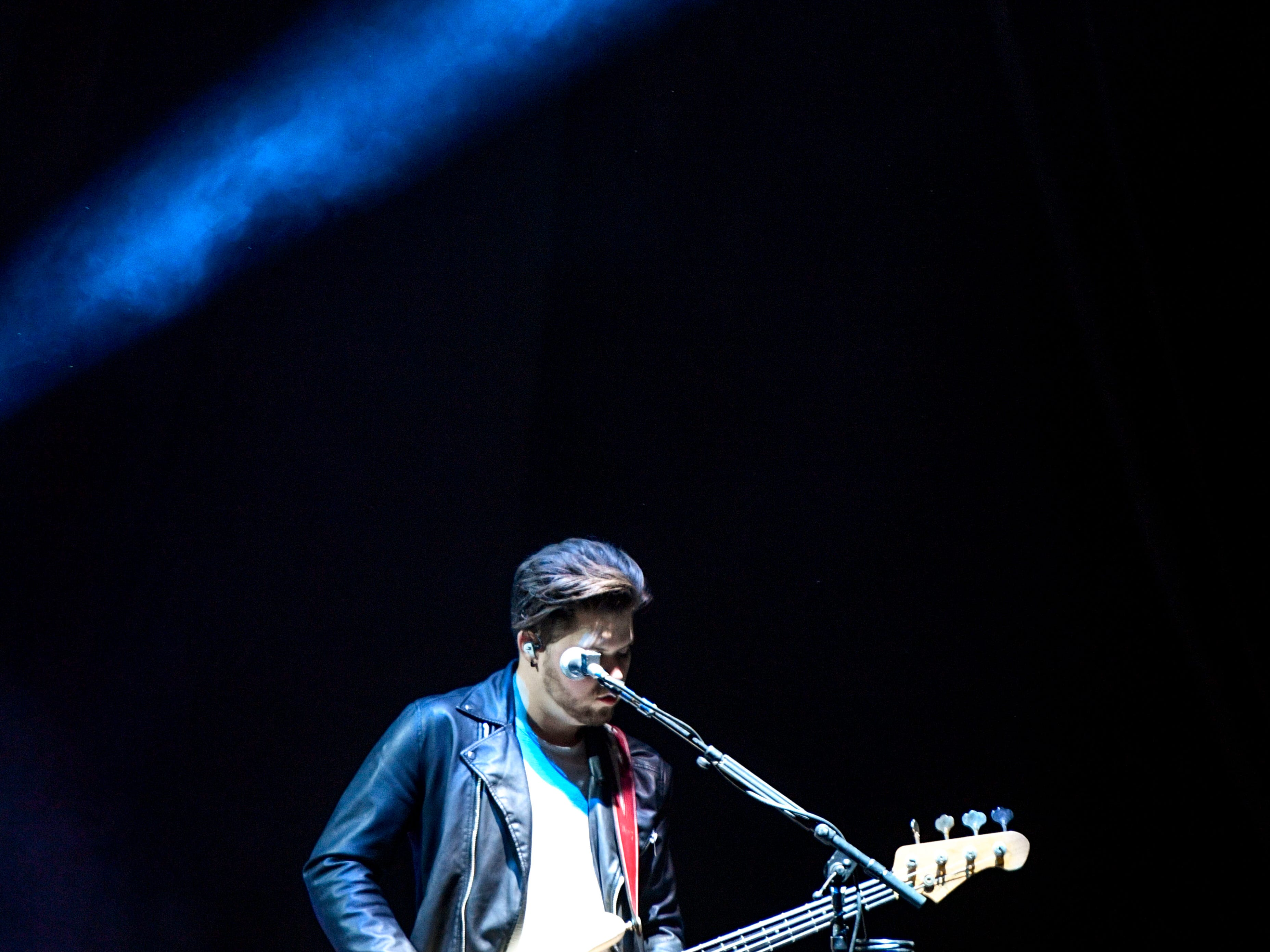 A guitarist in Kane Brown's band performs as an opening act for Chris Young at Bridgestone Arena in Nashville, Tenn., Saturday, Sept. 22, 2018.