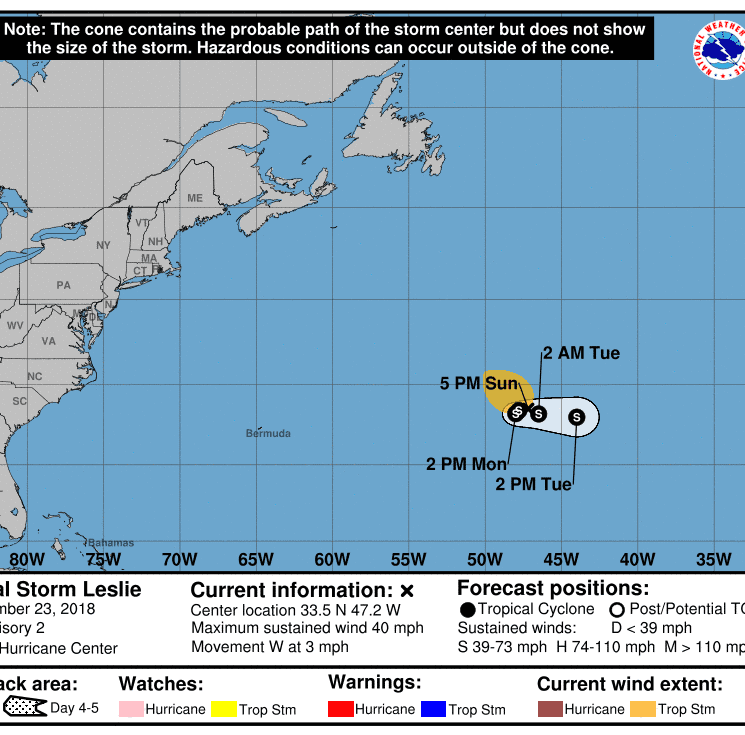 Subtropical Storm Leslie in Atlantic to dissipate midweek