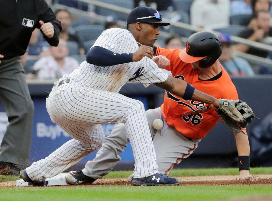 Baltimore Orioles' Caleb Joseph (36) beats the throw to third base during the fifth inning of a baseball game as New York Yankees third baseman Miguel Andujar fields the ball Saturday, Sept. 22, 2018, in New York.