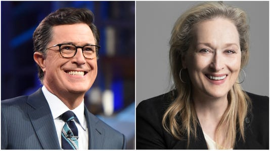 Meryl Streep and Stephen Colbert