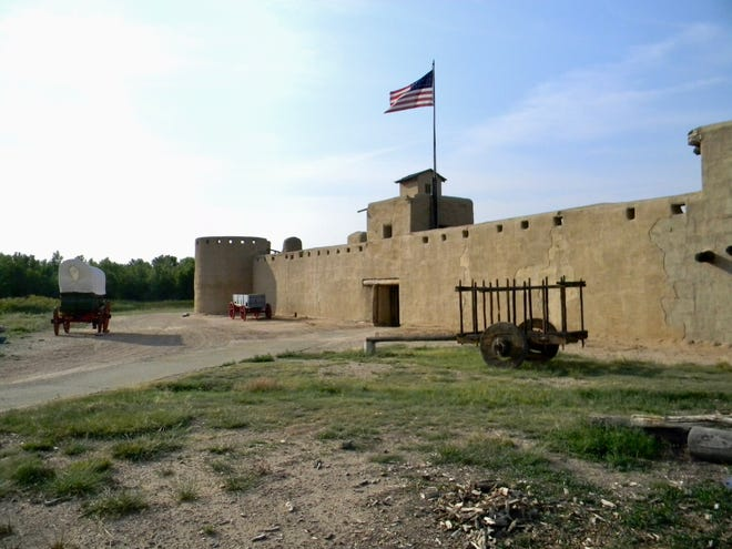 Bastion towers on opposite corners and a watch tower along with the massive entrance gate provided good defense from attackers at Bent's Old Fort in southern Colorado.
