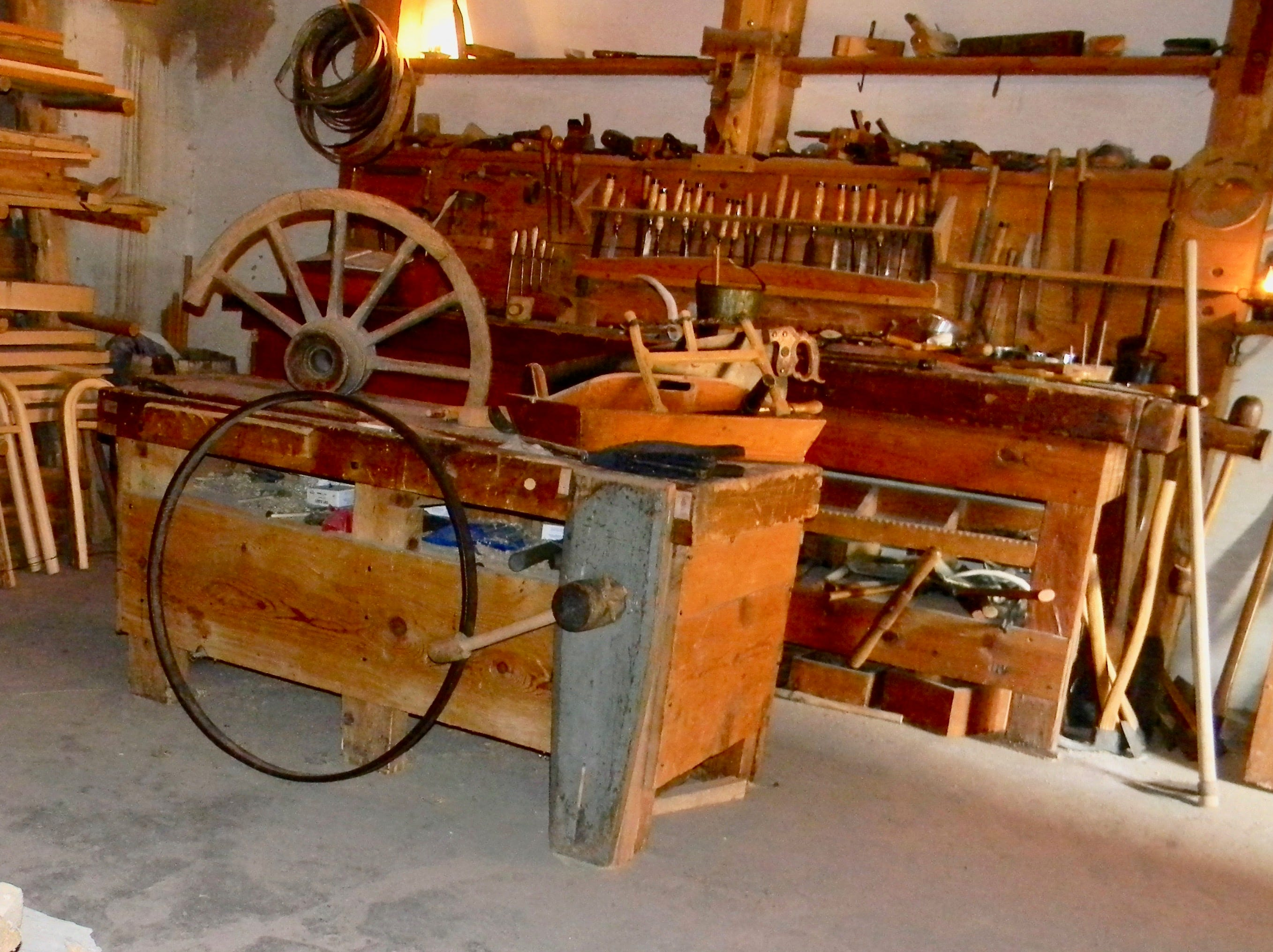 Compare the carpenter shop at Bent's Old Fort, where wagons were repaired, to today's garages, essential in keeping our wheels turning.