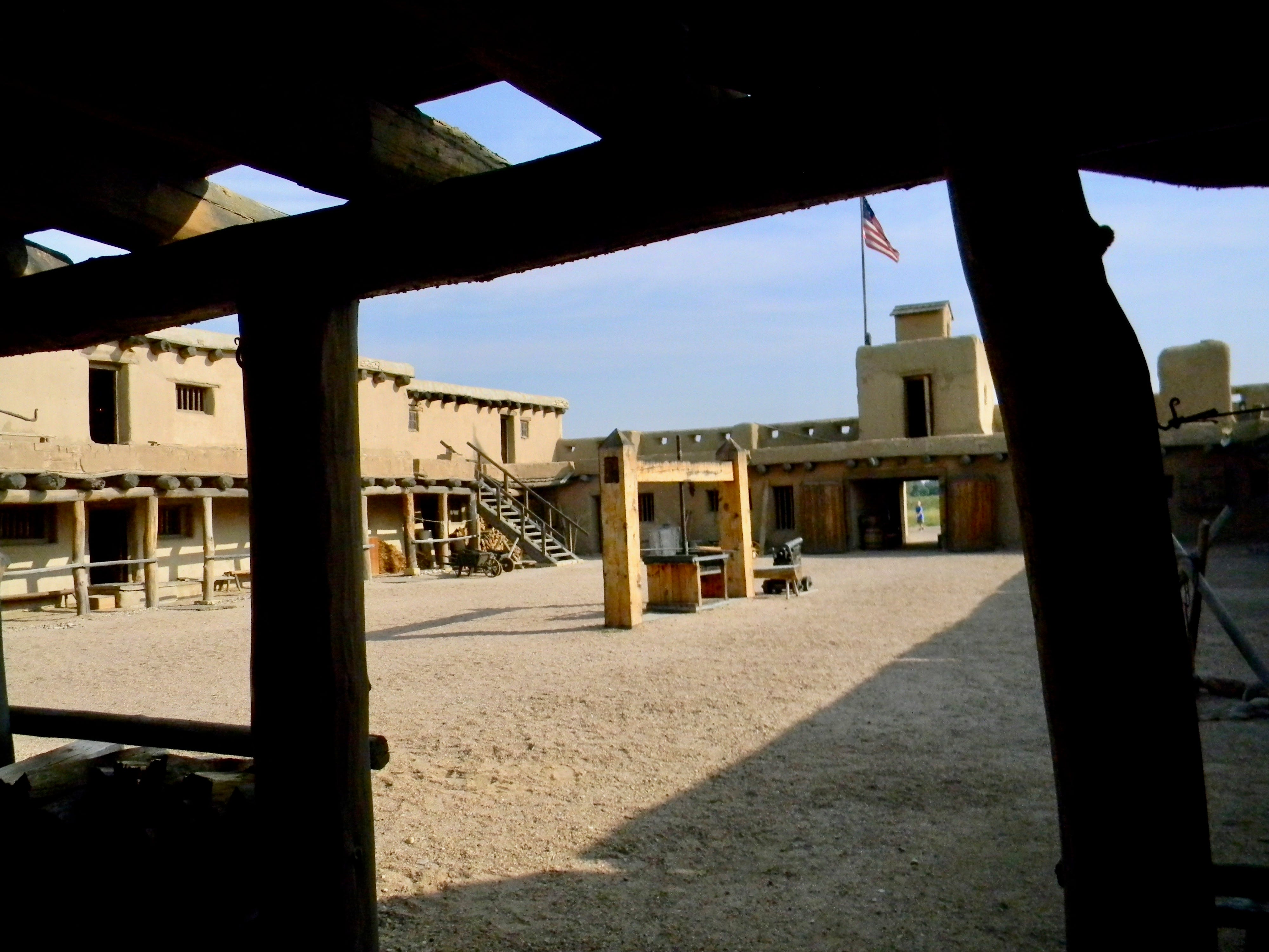 .In the center of Bent's Old Fort placita was a screw used to compress bales of buffalo robes.