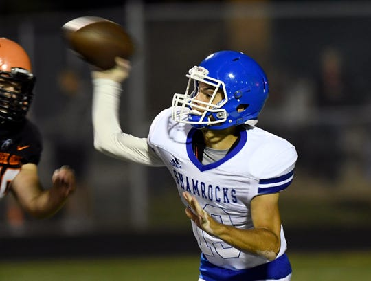 Detroit Catholic Central quarterback Jack Beno (19) passes against Birmingham Brother Rice in the third quarter, Saturday, Sept. 22, 2018 at Hurley Field in Berkley, Mich.  Catholic Central defeated Brother Rice, 21-0.