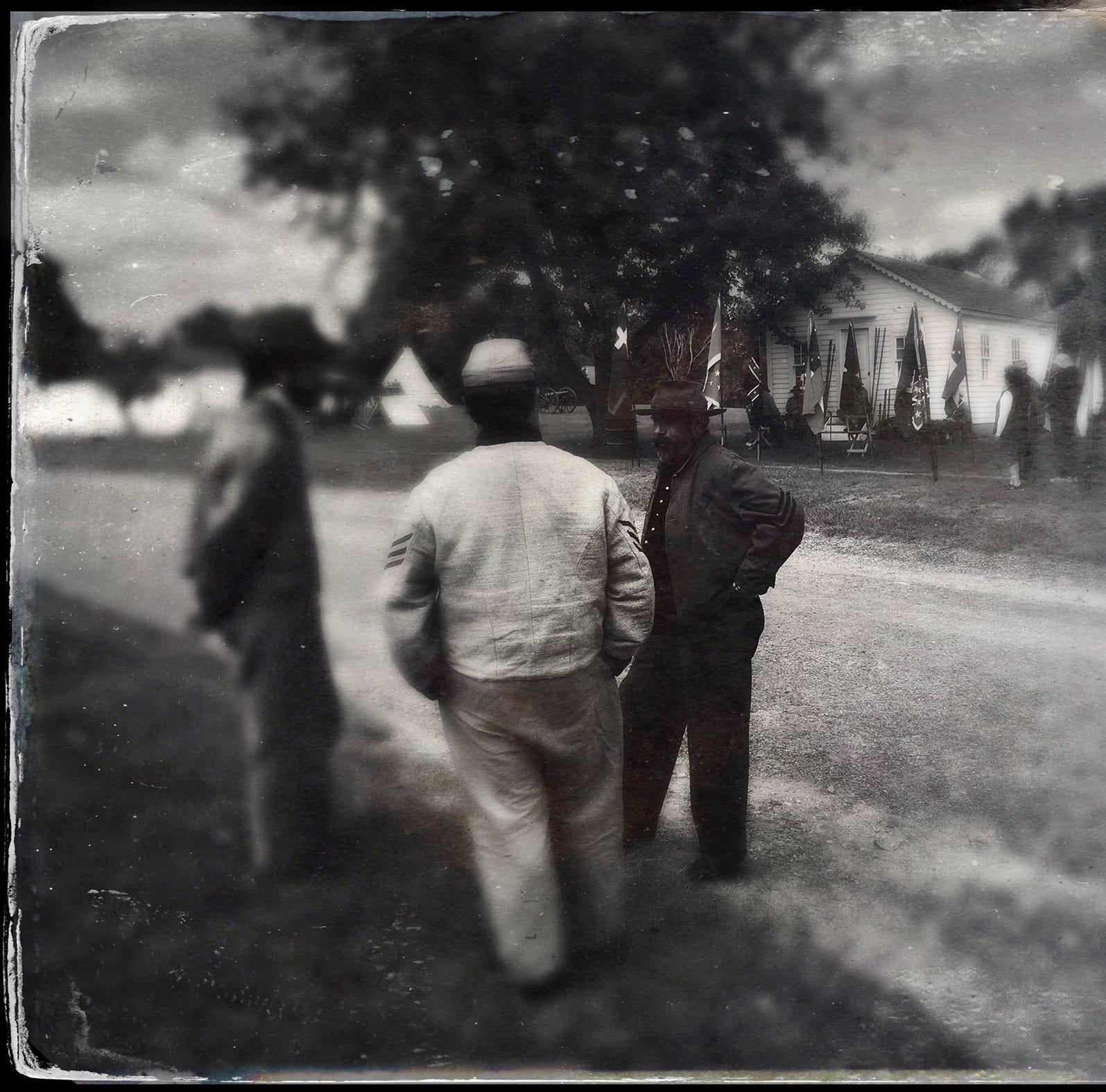 17th Michigan Volunteer Infantry Civil War reenactors gather at Greenmead Historical Park