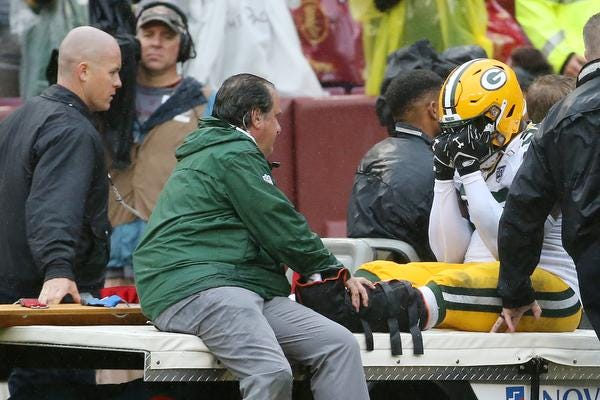 Sep 23, 2018; Landover, MD, USA; Green Bay Packers defensive end Muhammad Wilkerson (96) is carted off the field after injuring his left leg against the Washington Redskins I the second quarter at FedEx Field. The Redskins won 31-17. Mandatory Credit: Geoff Burke-USA TODAY Sports
