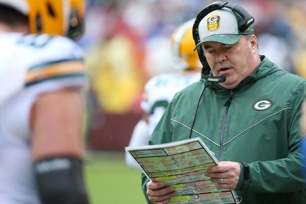 Sep 23, 2018; Landover, MD, USA; Green Bay Packers head coach Mike McCarthy stands on the sidelines against the Washington Redskins in the second quarter at FedEx Field. The Redskins won 31-17. Mandatory Credit: Geoff Burke-USA TODAY Sports