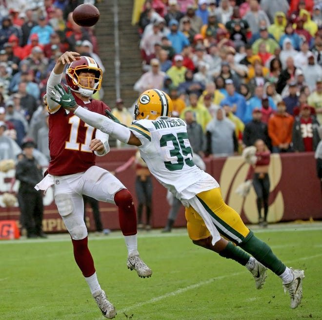 Green Bay Packers defensive back Jermaine Whitehead (35) pressures quarterback Alex Smith (11) against Washington Sunday, September 23, 2018 at FedEx Field in Landover, MD.