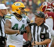 Green Bay Packers linebacker Antonio Morrison (44) yells at the referee after a scuffle against Washington Sunday, September 23, 2018 at FedEx Field in Landover, MD.