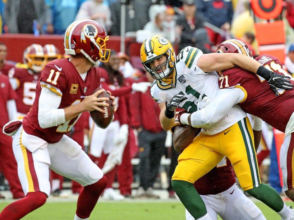 Green Bay Packers linebacker Kyler Fackrell (51) pressures quarterback Alex Smith (11) against Washington Sunday, September 23, 2018 at FedEx Field in Landover, MD. Jim Matthews/USA TODAY NETWORK-Wisconsin