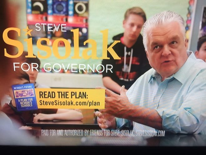 A view of one of the Nevada political ads aired during Arizona Diamondbacks games.