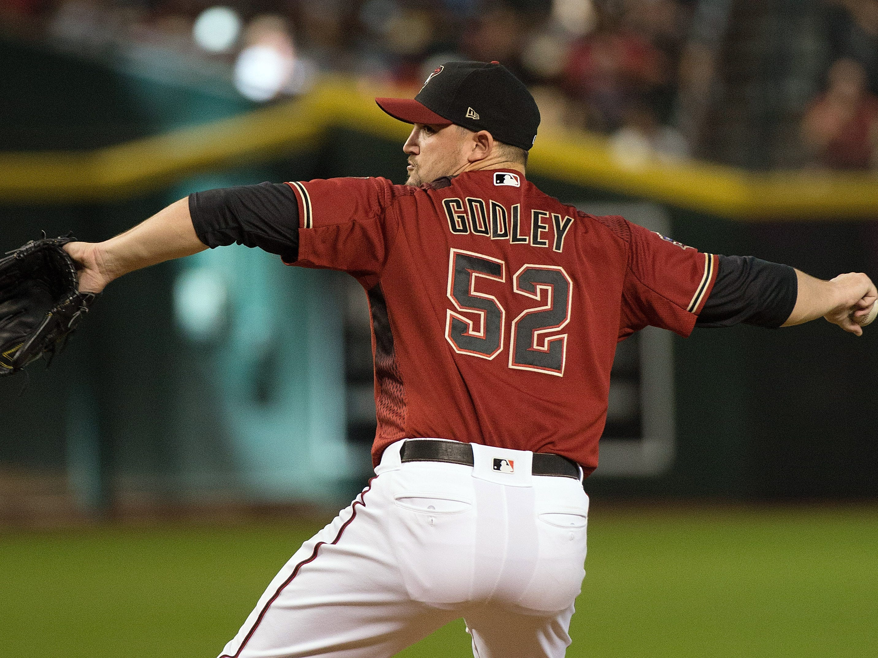 Sep 23, 2018; Phoenix, AZ, USA; Arizona Diamondbacks pitcher Zack Godley (52) on the mound during the second inning against the Colorado Rockies at Chase Field. Mandatory Credit: Allan Henry-USA TODAY Sports