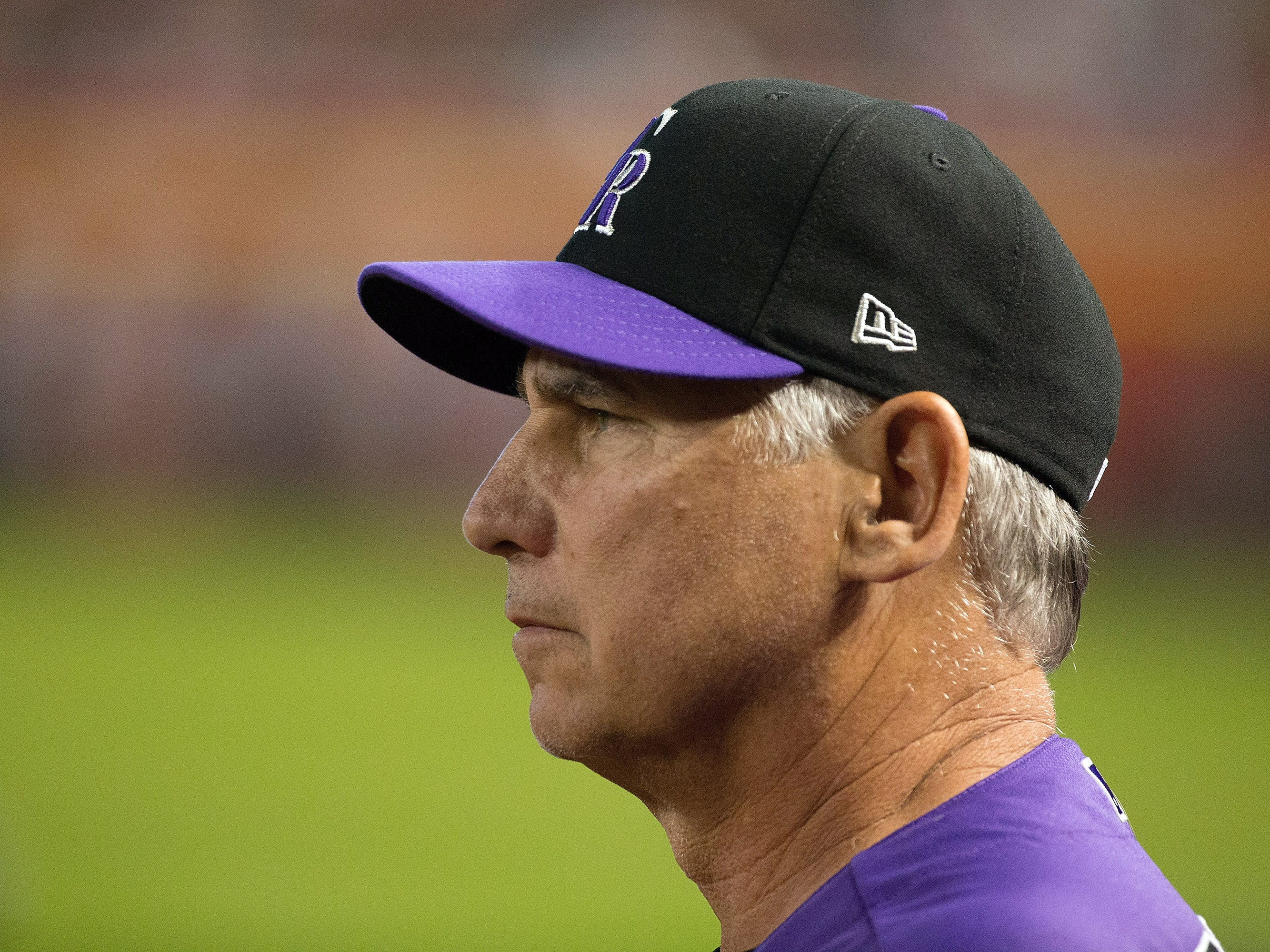 Sep 23, 2018; Phoenix, AZ, USA; Colorado Rockies manager Bud Black (10) inside the dugout during the first inning against the Arizona Diamondbacks at Chase Field. 
