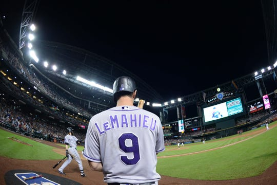 Sep 22, 2018; Phoenix, AZ, USA; Colorado Rockies second baseman DJ LeMahieu (9) waits on deck during the sixth inning against the Arizona Diamondbacks at Chase Field.