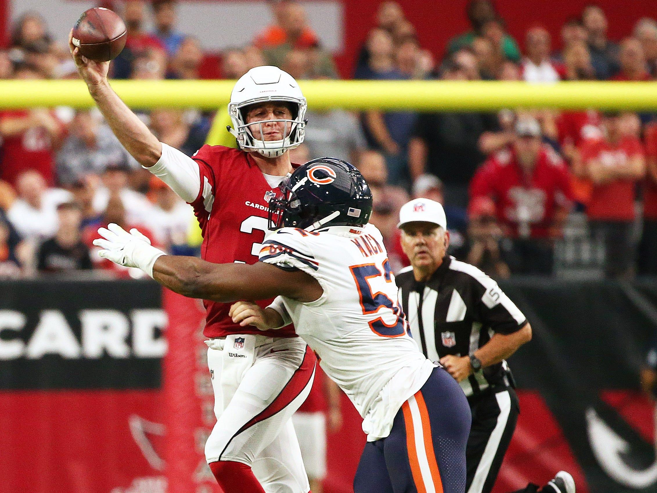 Arizona Cardinals quarterback Josh Rosen is hit by Chicago Bears Khalil Mack at State Farm Stadium in Glendale, Ariz.
