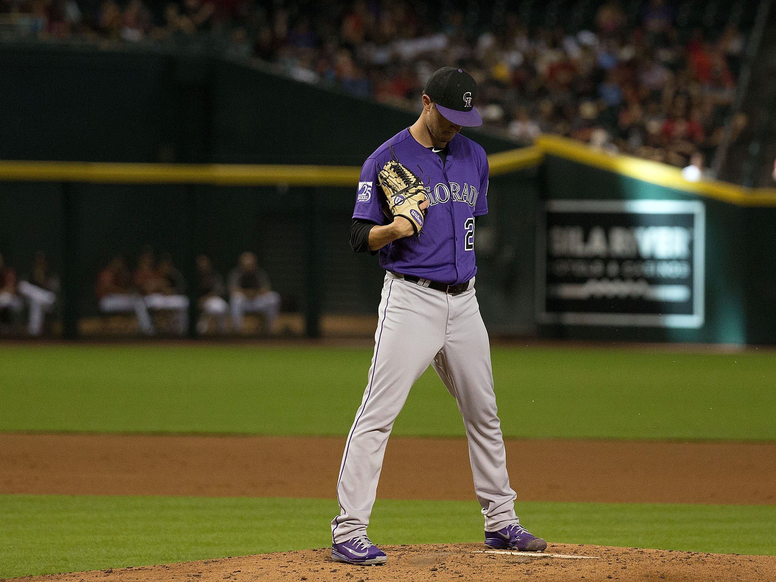 Sep 23, 2018; Phoenix, AZ, USA; Colorado Rockies pitcher Kyle Freeland (21) on the mound during the second inning against the Arizona Diamondbacks at Chase Field. 