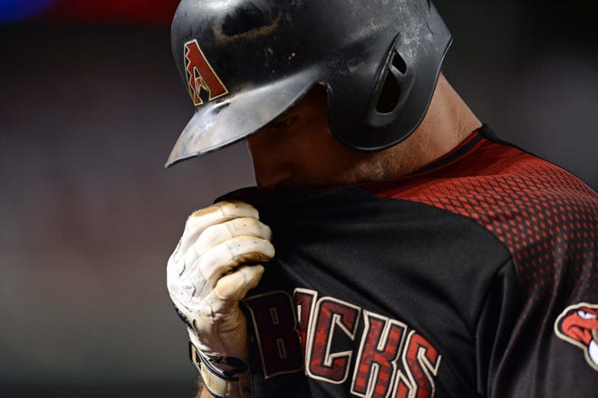Sep 22, 2018; Phoenix, AZ, USA; Arizona Diamondbacks first baseman Paul Goldschmidt (44) reacts after flying out against the Colorado Rockies during the fifth inning at Chase Field.