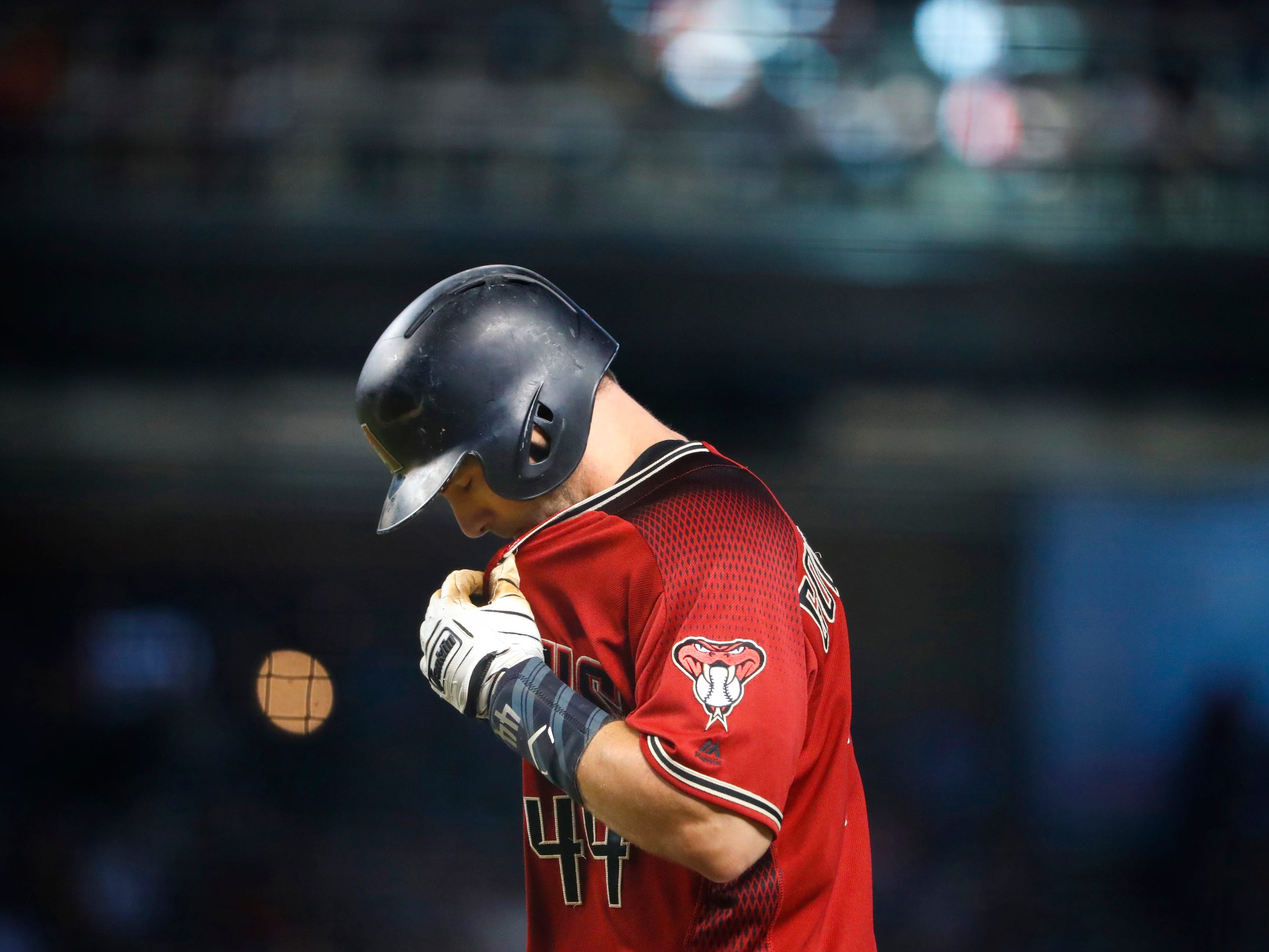 Diamondbacks Paul Goldschmidt (44) reacts after flying out in the fourth inning against the Rockies at Chase Field on Sept. 23, 2018.
